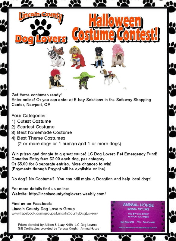 the lincoln county pet emergency fund click on the halloween costume contest link at the top of the page for more details